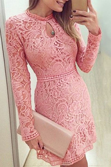 Yoins Pink Lace Design Crew Neck Long Sleeves Dress