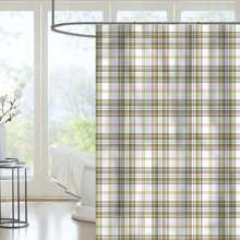 Plaid Pattern Shower Curtain With 11hooks