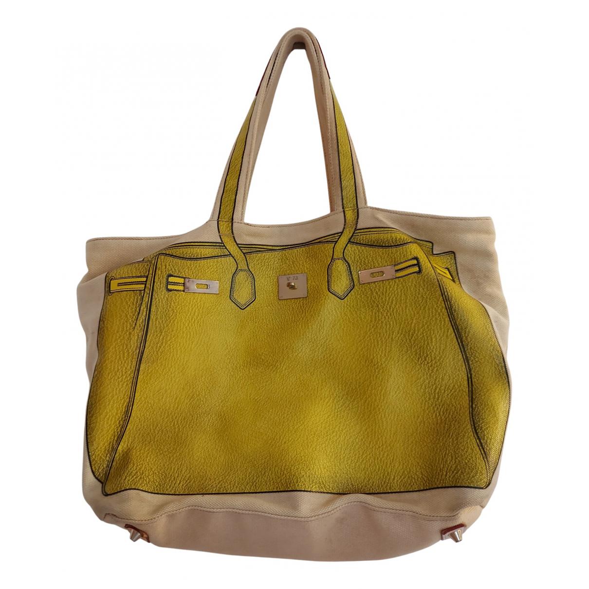 V 73 \N Handtasche in  Gelb Leinen