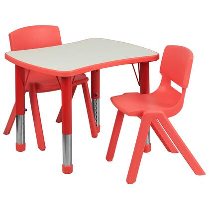 Yuycy Collection YU-YCY-098-0032-RECT-TBL-RED-GG 3 Piece Kids Table Set with 2 Stack Chairs  Rectangle Bowtie Table Top  Height Adjustable Steel Legs
