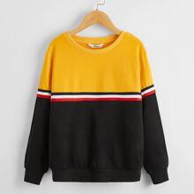 Pullover mit Streifen auf Band und Farbblock