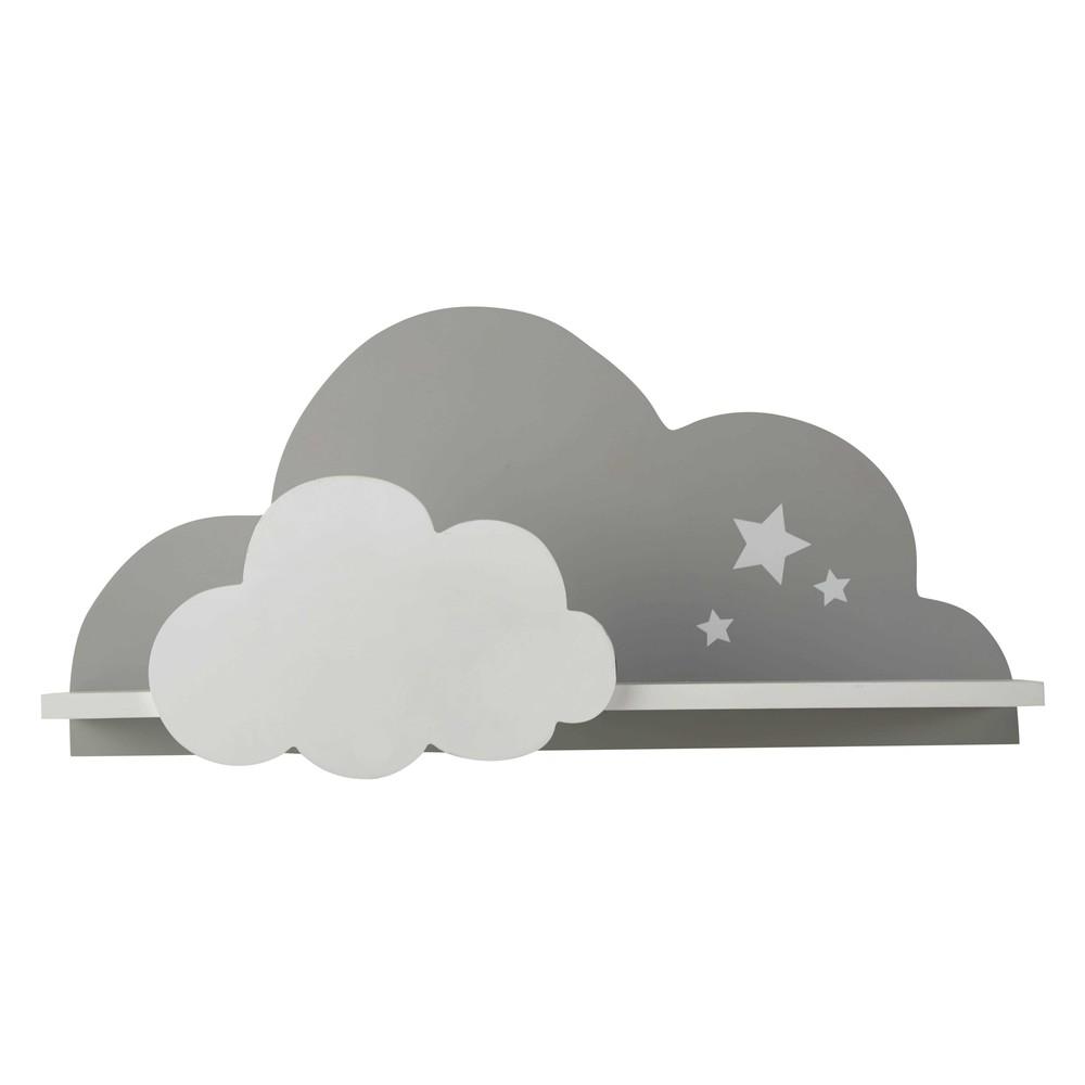 Wandregal Wolke weiss und grau