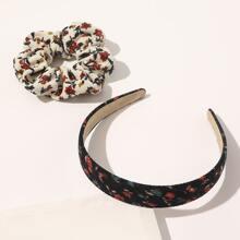 Ditsy Floral Pattern Hair Hoop & Scrunchie