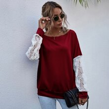 Drop Shoulder Contrast Lace Sleeve Sweatshirt
