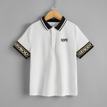 Boys Letter Graphic Striped Trim Polo Shirt