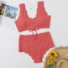 Texturierter Bikini Badeanzug mit Bogenkante