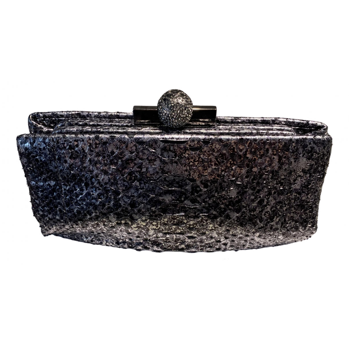 Chanel \N Clutch in  Metallic Python