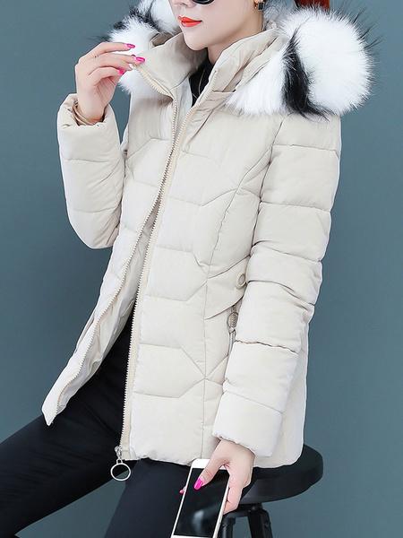 Milanoo Blue Puffer Coats Short Faux Fur Hooded Zipper Long Sleeves Winter Coat