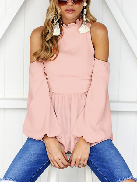 Yoins Pink High Neck Cold Shouder Frill Details Top