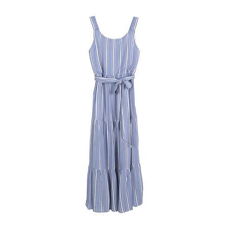 Zunie Little & Big Girls Sleeveless Striped Maxi Dress, 16 , Blue