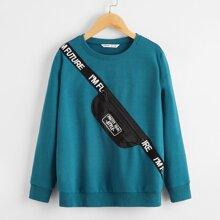 Pullover mit Reissverschluss und Buchstaben Band