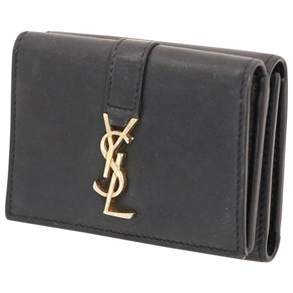 Saint Laurent Ysl line Black Leather wallet for Women N