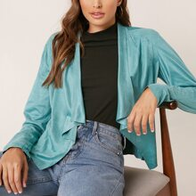 Waterfall Neck Open Front Suede Jacket