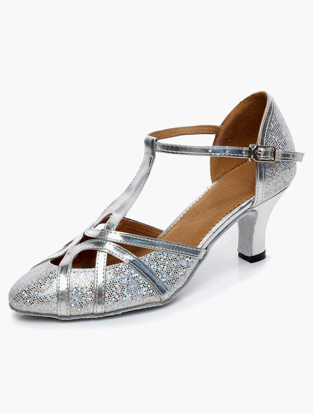 Milanoo Silver Latin Dance Sandals Pointed Toe T Type 1920s Vintage Shoes Glitter Ballroom Shoes