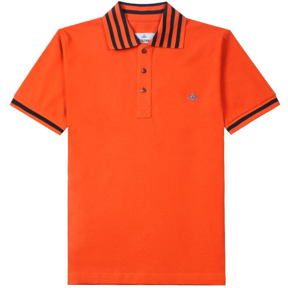 Vivienne Westwood Multi Stripe Polo Shirt Colour: ORANGE, Size: LARGE