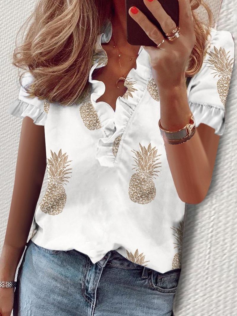 Ericdress Falbala V-Neck Standard Short Sleeve Blouse