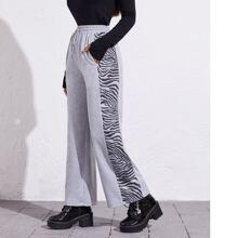 Pantalones de pierna ancha de rayas de cintura con cordon