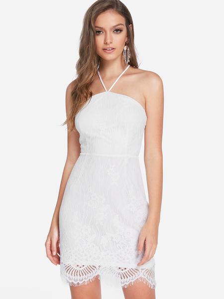 Yoins White Backless Lace Design Halter Sleeveless Dress
