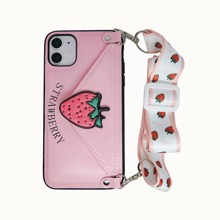 1pc Strawberry Pattern iPhone Wallet Case