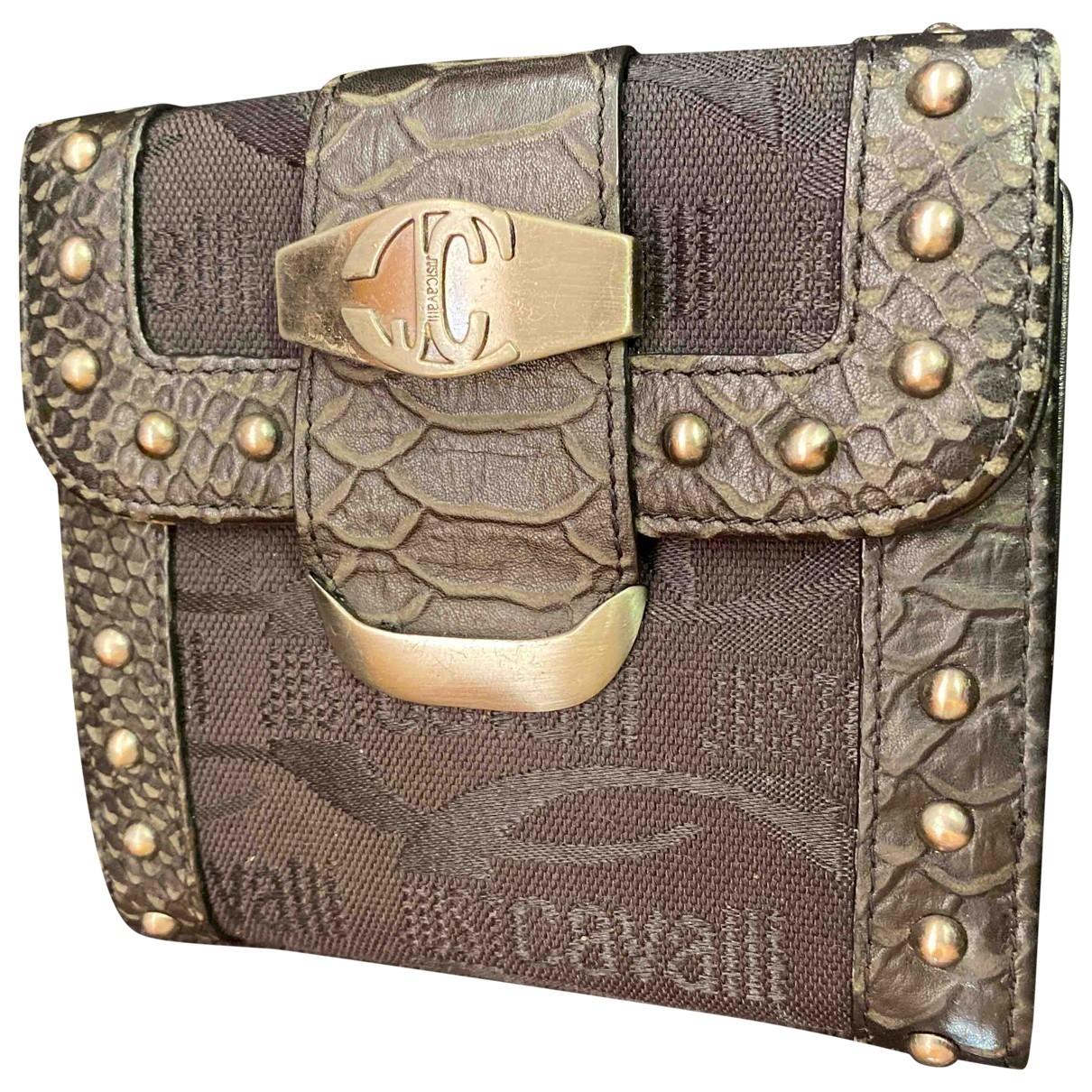 Roberto Cavalli - Portefeuille   pour femme en toile - noir