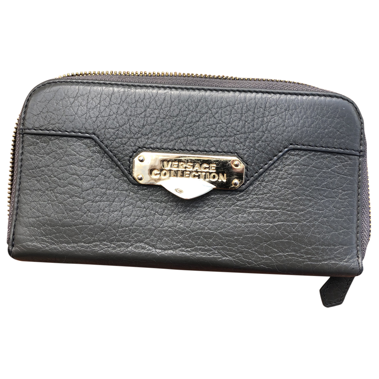 Versace \N Portemonnaie in  Grau Leder