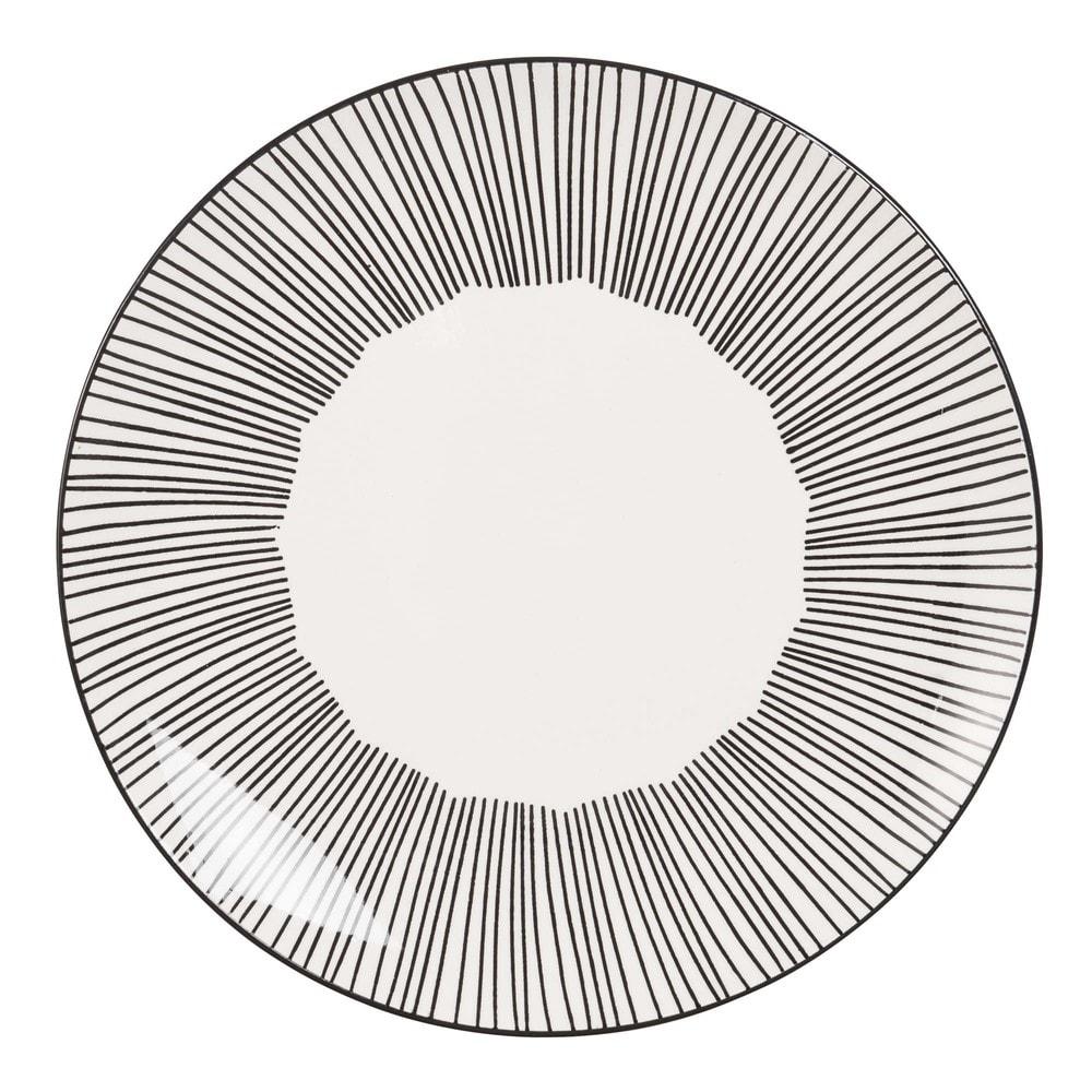 Flacher Teller aus weisser Keramik mit Streifen