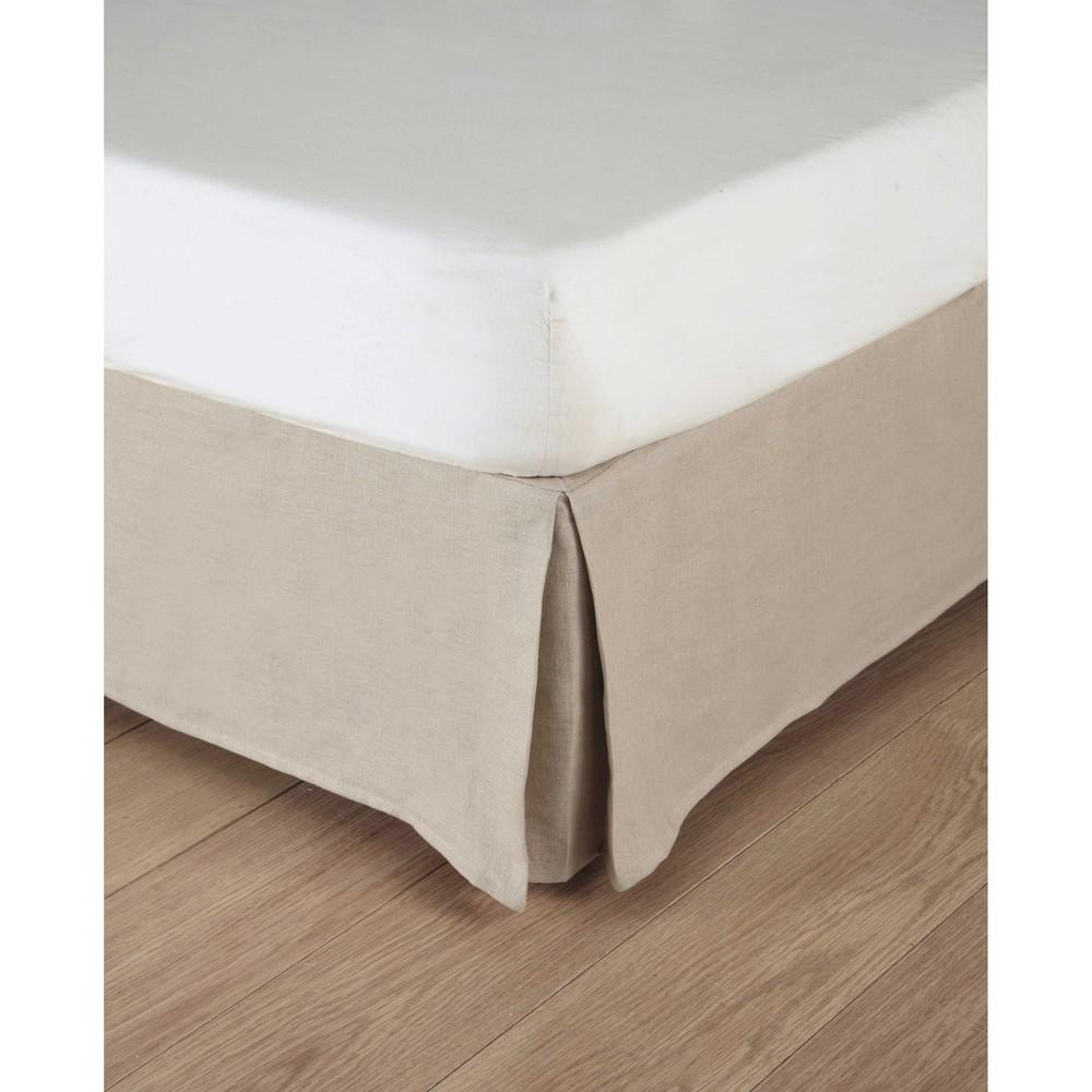 Bettrahmenbezug 160 x 200 cm aus grobem Leinen, beige Morphee