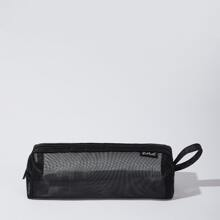 ROMWE Solid Mesh Pencil Case