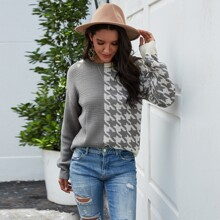 Two Tone Houndstooth Drop Shoulder Sweater