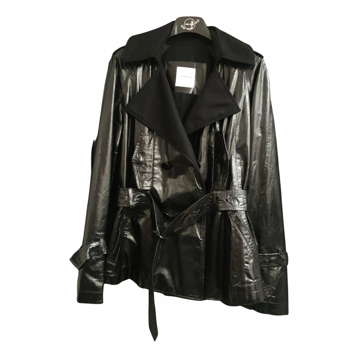 Costume National N Black Leather Leather jacket for Women 40 IT