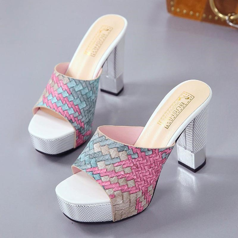 Ericdress Plaid Platform Flip Flop Chunky Heel Mules Shoes