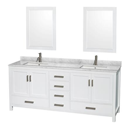 WCS141480DWHCMUNSM24 80 in. Double Bathroom Vanity in White  White Carrera Marble Countertop  Undermount Square Sinks  and 24 in.