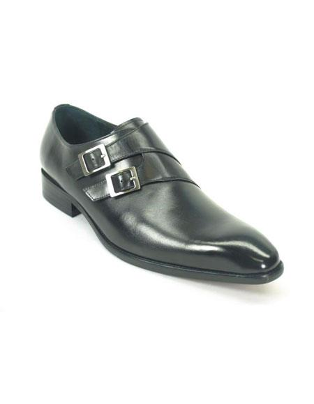 Men's Carrucci Black Double Monk Strap Fashionable Leather Loafer