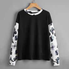 Drop Shoulder Butterfly Print Pullover