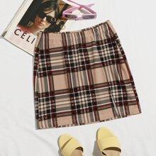 Falda ajustada mini de cuadros