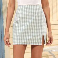 Buffalo Plaid Split Hem Skirt