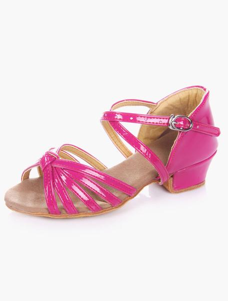 Milanoo Dulce Open Toe PU suela suave cuero salon de baile zapatos para niños