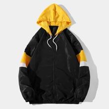Men Color Block Zip Up Drawstring Hooded Windbreaker Jacket