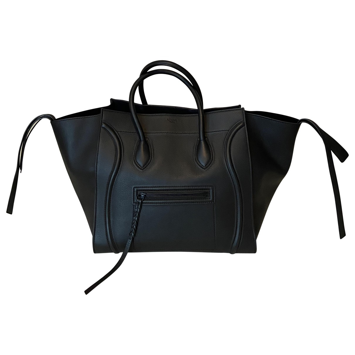 Celine Luggage Phantom Handtasche in  Schwarz Leder
