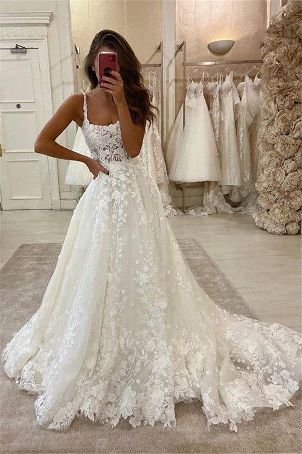 Glamorous Lace Appliques Spaghetti A-line Bridal Gowns Sweep Train Wedding Dress
