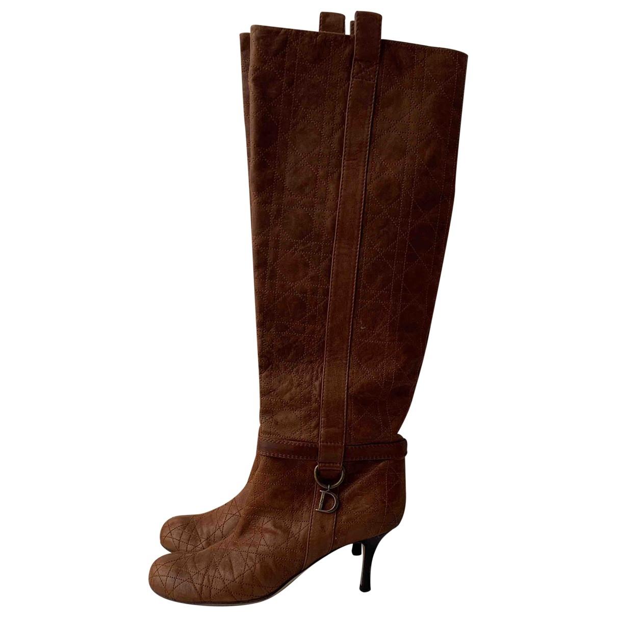 Christian Dior - Bottes   pour femme en cuir - marron