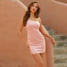 DKRX Ein Schulter Kleid mit Pailetten