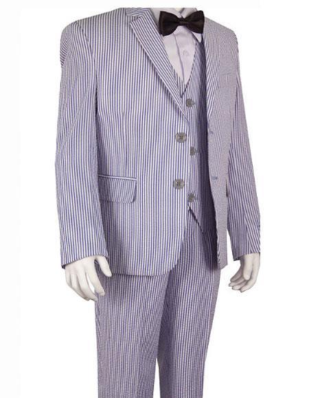 Seersucker Blue Suits Stripe ~ Pinstripe Boys ~ Children ~ Kids Suit