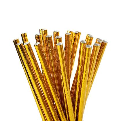 Gold Disposable Party Drinking Paper Straws for Celebration and Parties, 24Pcs - Livingbasics™