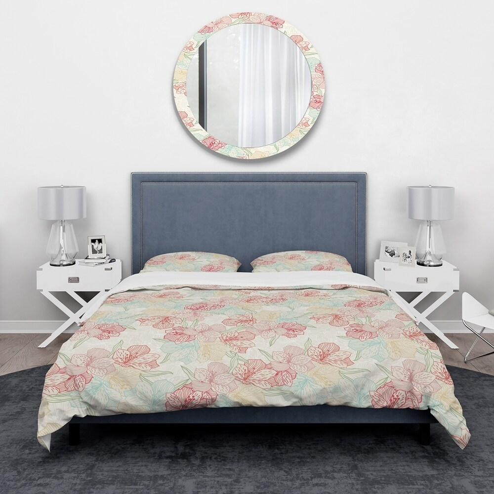 Designart 'Abstract Flower Pattern with Orchid' Modern & Contemporary Bedding Set - Duvet Cover & Shams (Twin Cover + 1 sham (comforter not included))