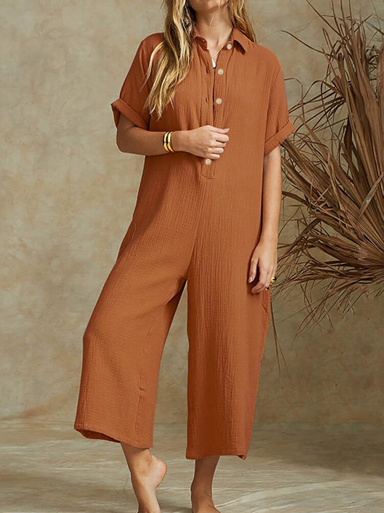 Casual Short Sleeve Button Lapel Plus Size Jumpsuit