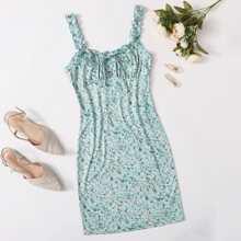 Kleid mit Halsband, Ruesche, Rueschenbesatz und Bluemchen Muster
