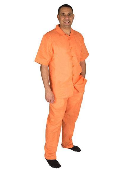 Mens Papaya Button Closure Short Sleeve 1Linen 2Piece Pleat Pant Shirt