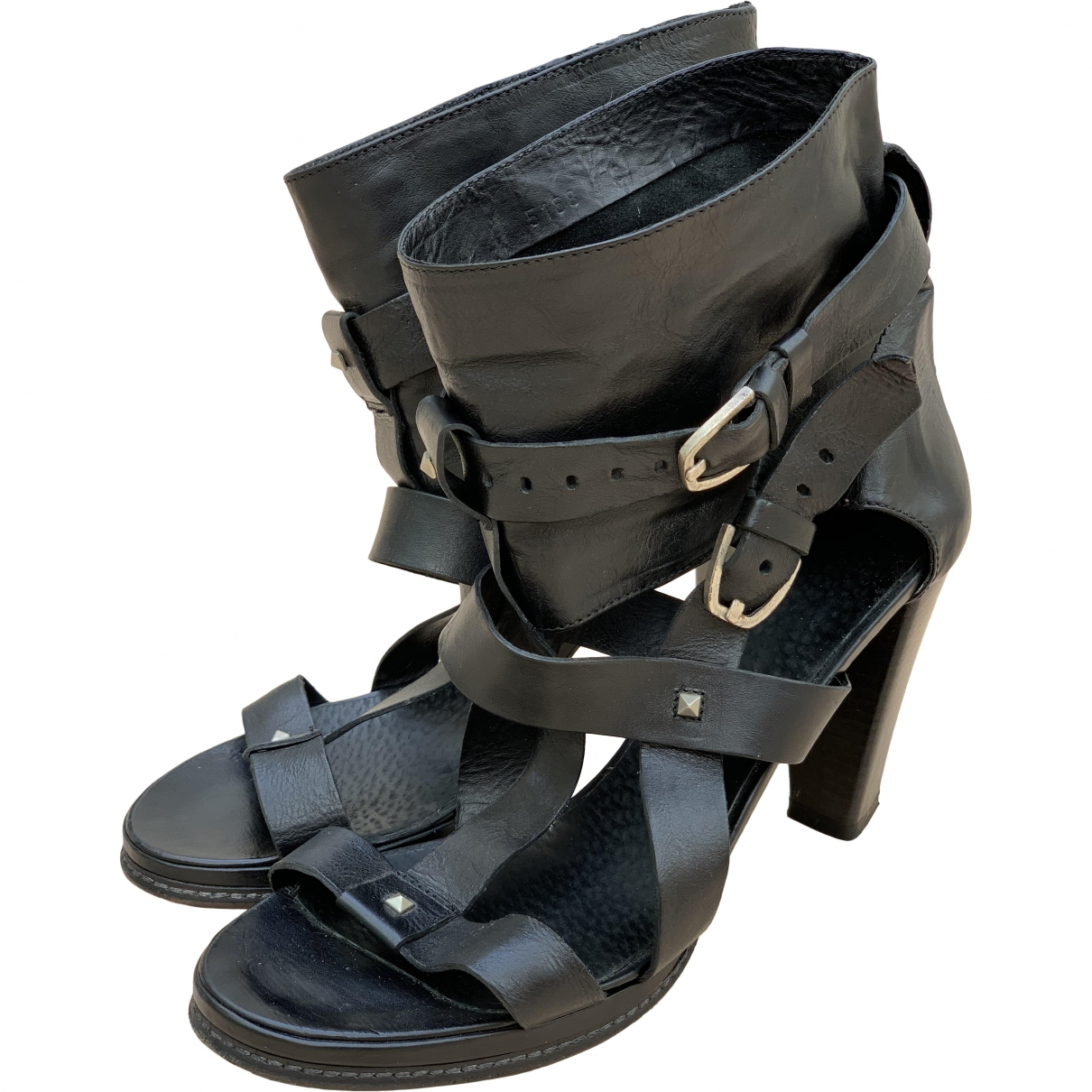 Vic Matié \N Black Leather Heels for Women 38 EU