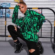 Pullover mit sehr tief angesetzter Schulterpartie, Reissverschluss und Graffiti Muster